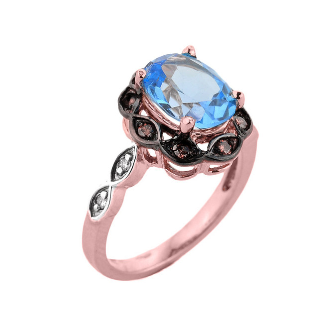 Rose Gold Blue Topaz and Diamond Proposal Ring