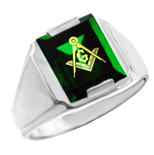 Freemason Green CZ Square & Compass Silver Masonic Mens Ring