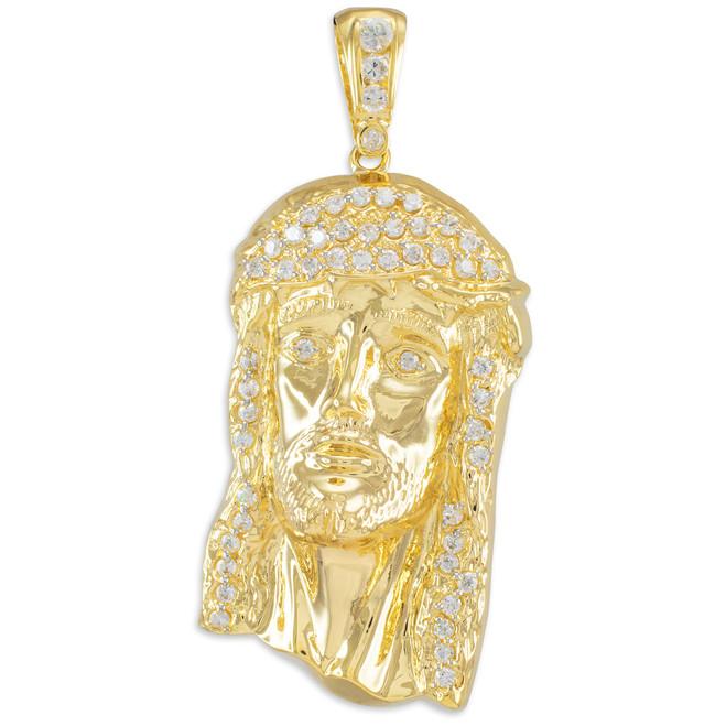 Iced Gold Jesus Face Men's CZ Pendant