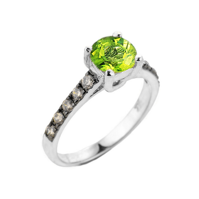 White Gold Peridot and Diamond Solitaire Ring
