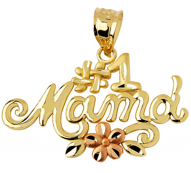 #1 Mama Two-Tone Gold Pendant