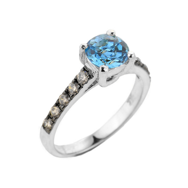 White Gold Blue Topaz and Diamond Solitaire Ring