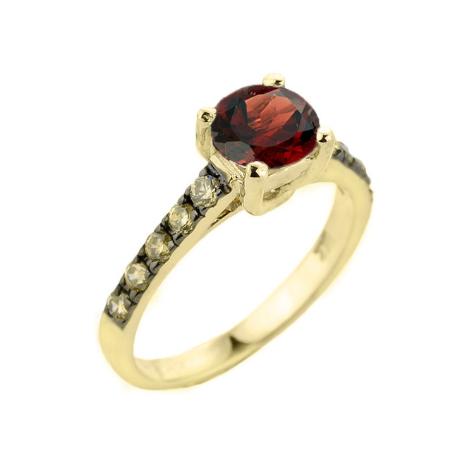 Yellow Gold Garnet and Diamond Solitaire Ring