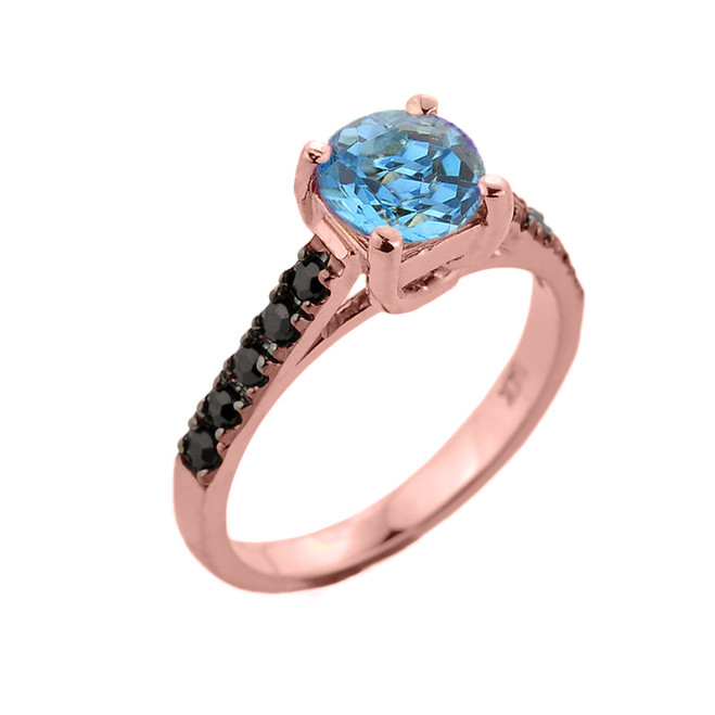 Rose Gold Blue Topaz and Black Diamond Solitaire Engagement Ring