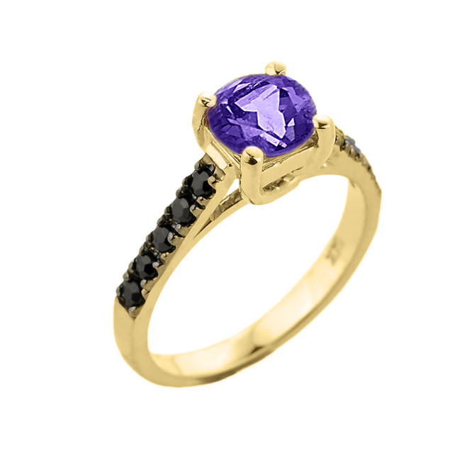 Yellow Gold Amethyst and Black Diamond Solitaire Engagement Ring