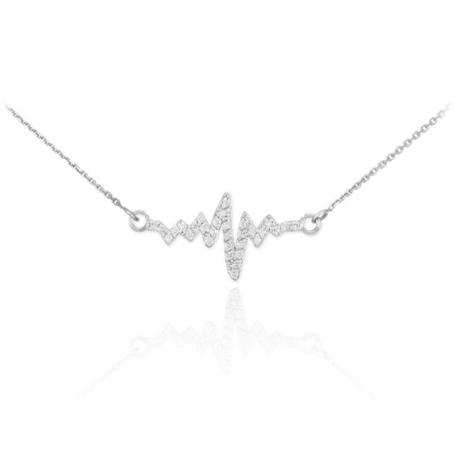 14K White Gold Heartbeat Diamond Necklace