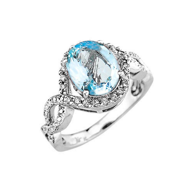 White Gold Aquamarine and Diamond Infinity Engagement Ring