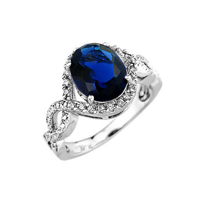 White Gold (LCS) Sapphire and Diamond Infinity Engagement Ring