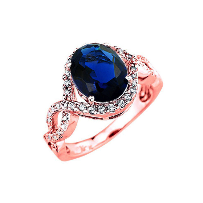 Rose Gold (LCS) Sapphire and Diamond Infinity Engagement Ring