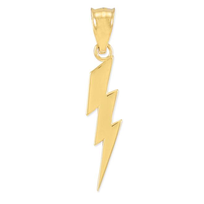 Gold Thunderbolt Charm Pendant