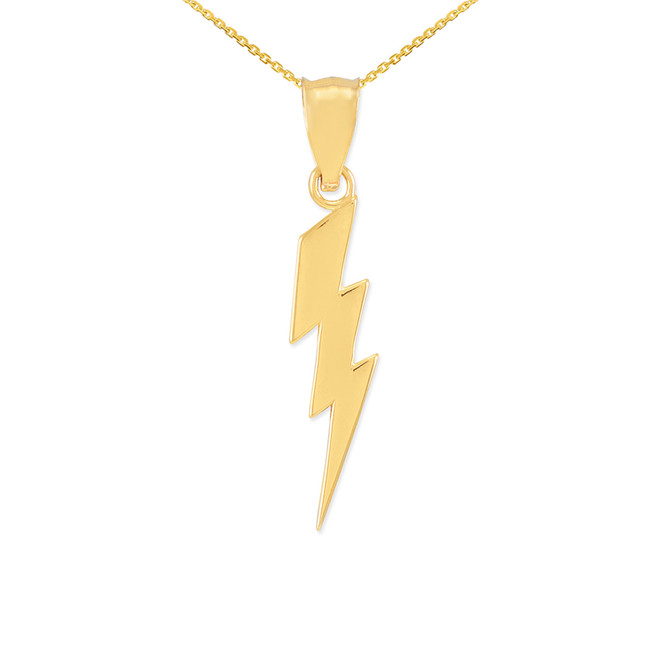 Yellow Gold Thunderbolt Charm Pendant Necklace