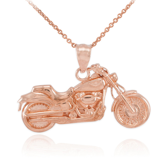 Rose Gold Motorcycle Pendant Necklace