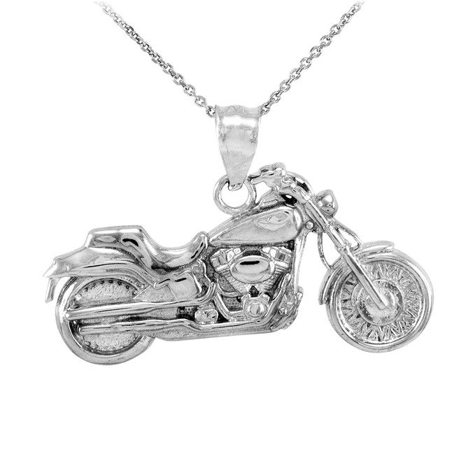 White Gold Motorcycle Pendant Necklace