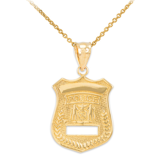 Gold Police Badge Charm Pendant Necklace