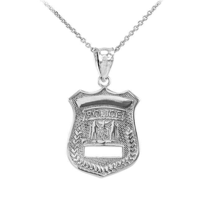 White Gold Police Badge Charm Pendant Necklace