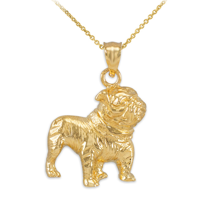 Gold Bulldog Pendant Necklace