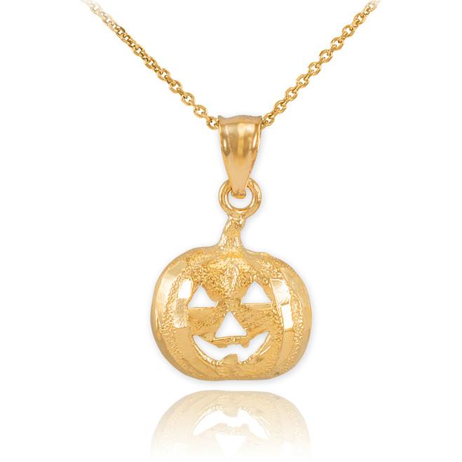 Gold Pumpkin Head Charm Pendant Necklace