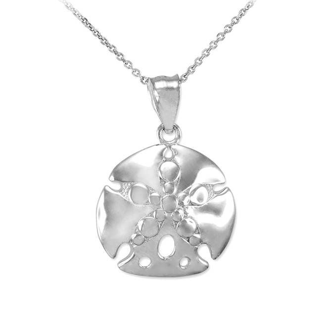 Polished White Gold Sand Dollar Pendant Necklace