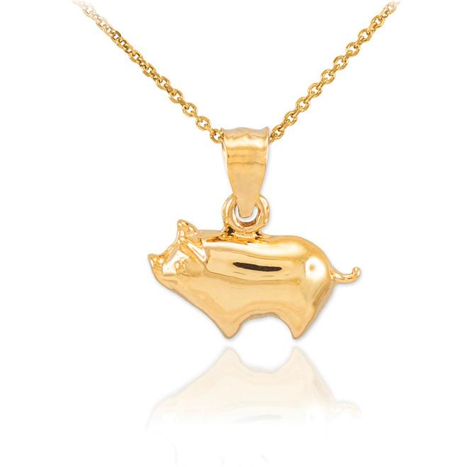 Gold Pig Charm Pendant Necklace