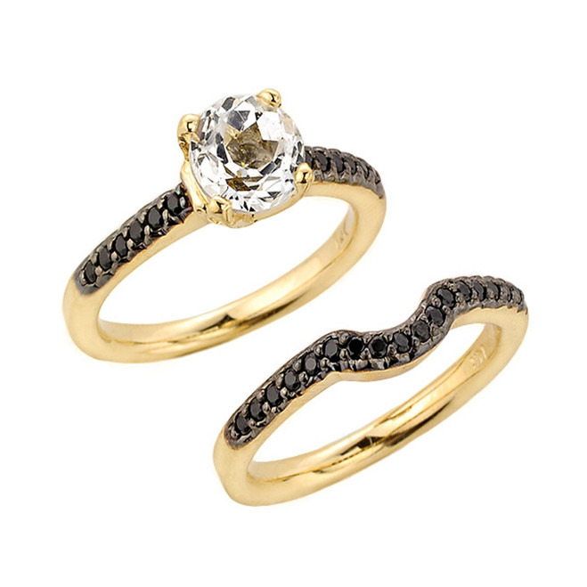 Yellow Gold Black Diamond Engagement Wedding Set