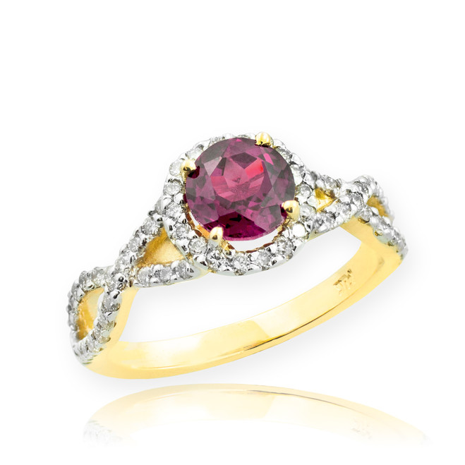 Gold Alexandrite Birthstone Infinity Ring with Diamonds