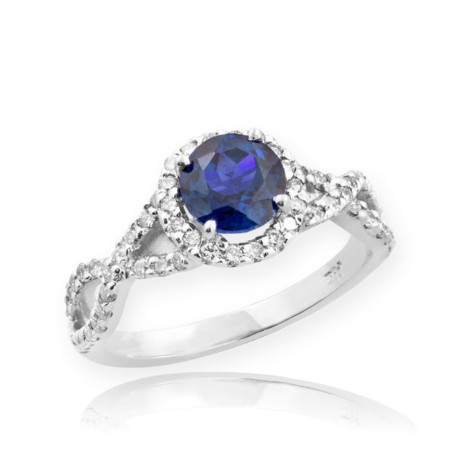 White Gold Sapphire Birthstone Infinity Ring with Diamonds