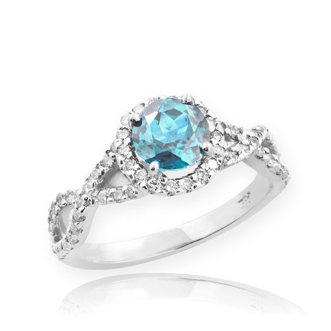 White Gold Aquamarine Birthstone Infinity Ring with Diamonds