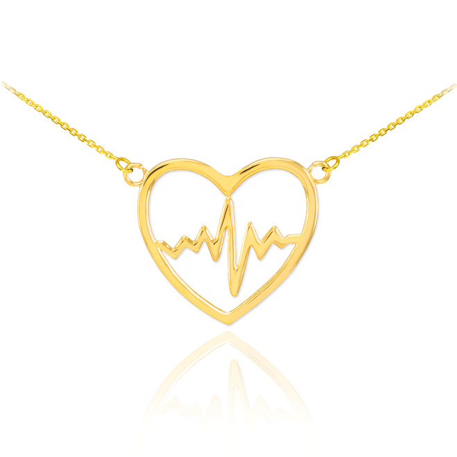 14k Gold Heartbeat Pulse Necklace