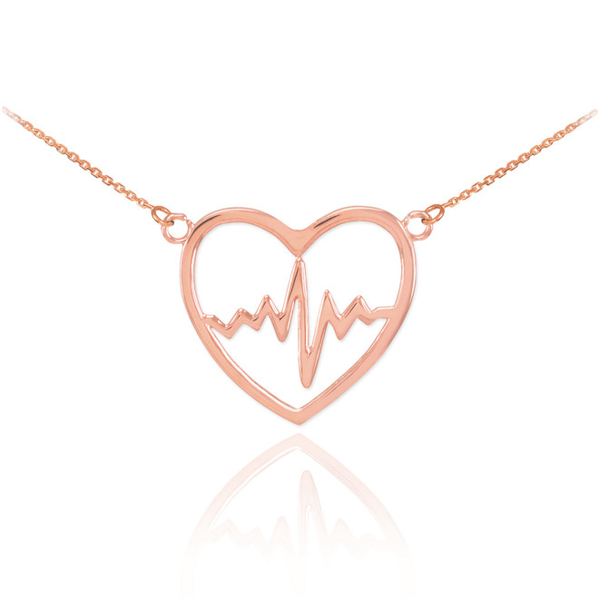 14k Rose Gold Heartbeat Pulse Necklace