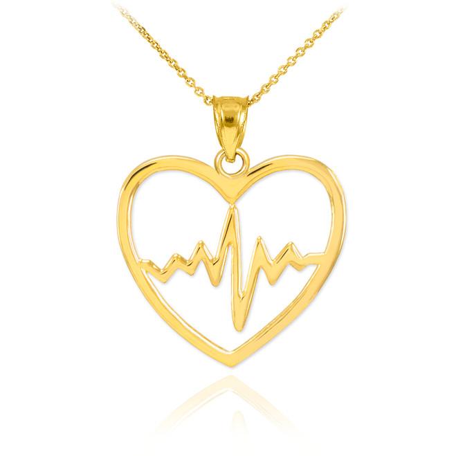 Gold Heartbeat Pulse Pendant Necklace
