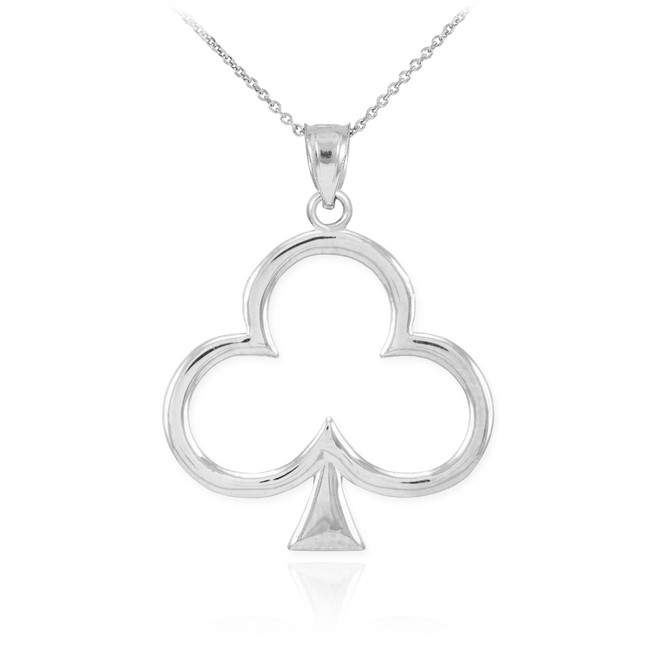 White Gold Clover Shamrock Pendant Necklace