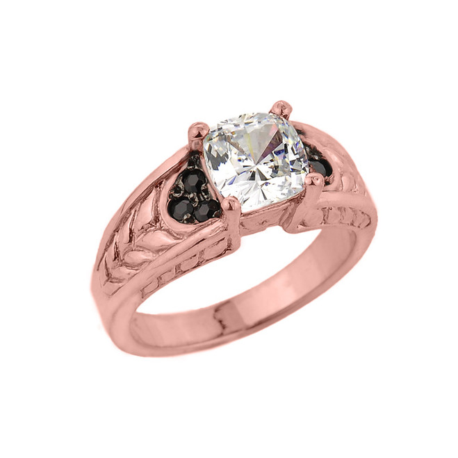 Rose Gold Cushion Radiant Cut Cubic Zirconia Engagement Ring