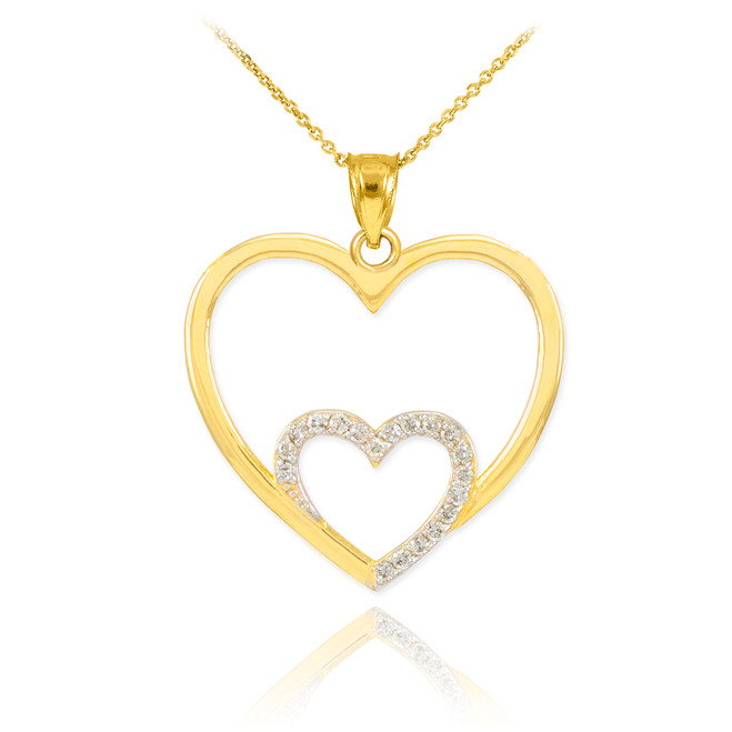 Gold Double Heart Pendant Necklace with Diamonds