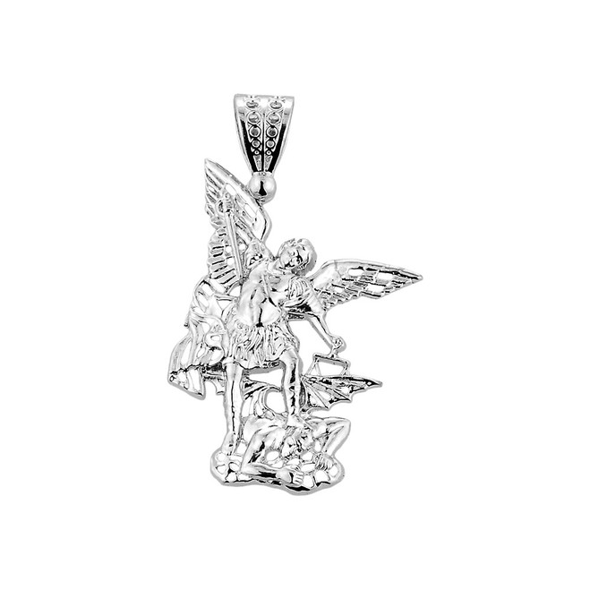 Medium Sterling Silver St. Michael vs Devil Pendant