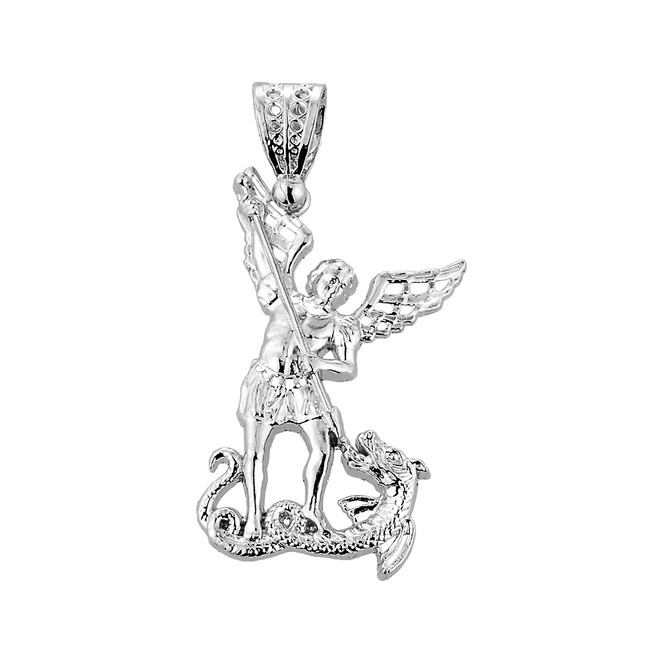 Medium Sterling Silver St. Michael vs Dragon Pendant