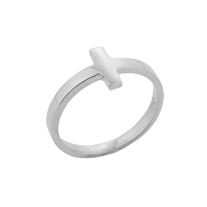 White Gold Sideways Cross Knuckle Ring