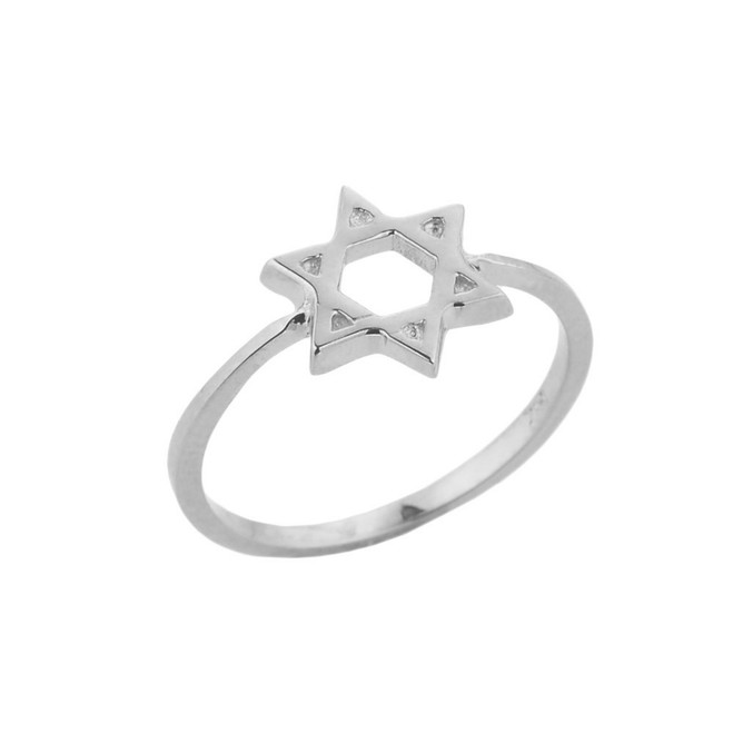 White Gold Jewish Star of David Ring