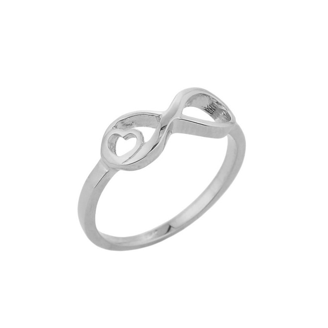 White Gold Infinity with Heart Ring