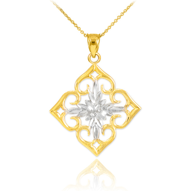 14k Two-Tone Gold Diamond Cut Flower Pendant Necklace