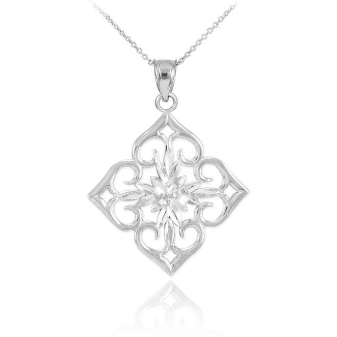 14k White Gold Diamond Cut Flower Pendant Necklace