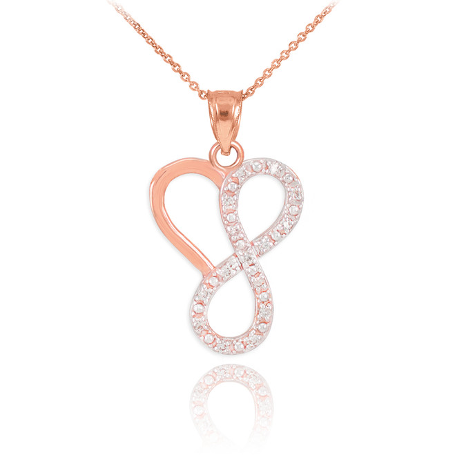 14k Rose Gold Infinity Heart Pendant Necklace