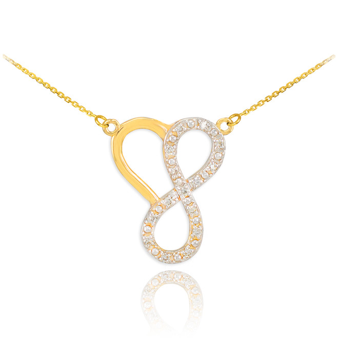 14k Gold Infinity Heart Necklace with Diamonds