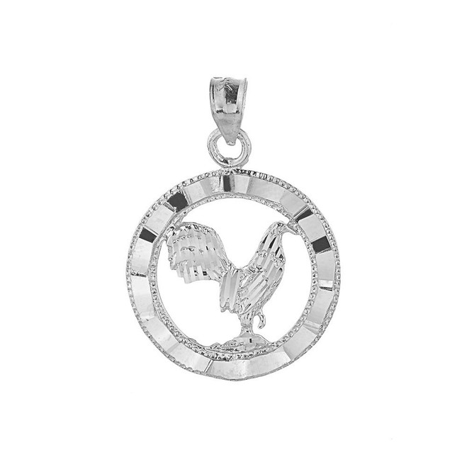 Sterling Silver Diamond Cut Rooster Charm Pendant Necklace