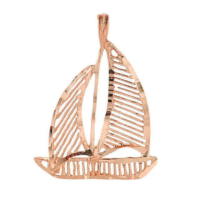 Rose Gold Sailing Boat Diamond Cut Pendant