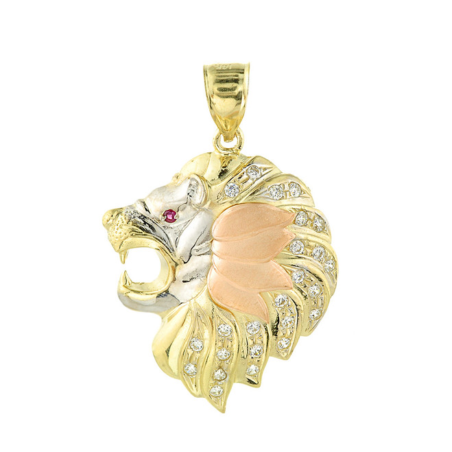 Tri-Tone Gold Lion Clear and Red CZ Pendant