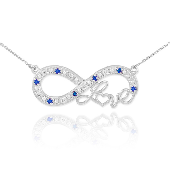 """14k White Gold Sapphire Infinity """"Love"""" Script Necklace with Diamonds"""