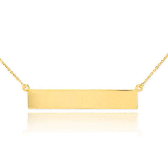 14k Gold Engravable Name Bar Necklace