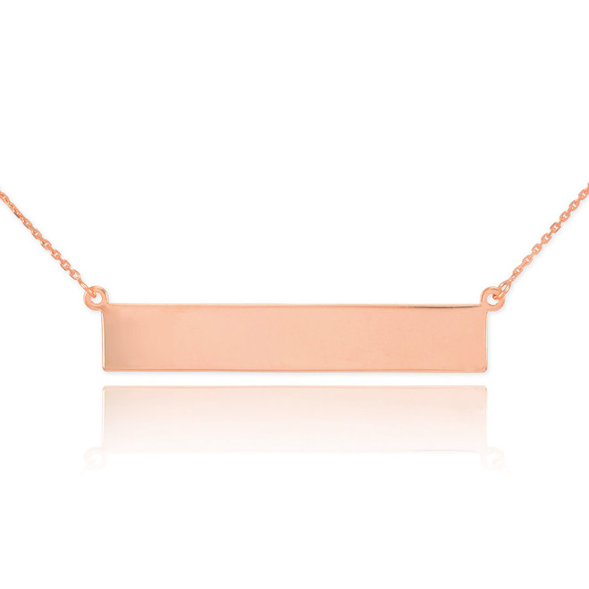 14k Rose Gold Engravable Name Bar Necklace