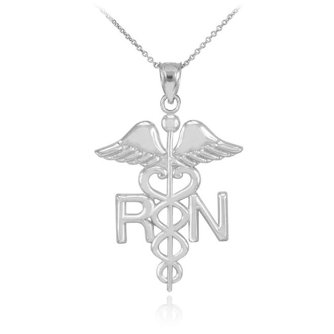 Sterling Silver Registered Nurse RN Medical Necklace