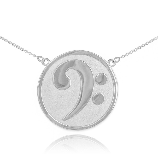 14k Solid White Gold Textured Bass F-Clef Necklace